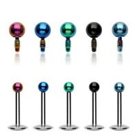 16G Internally Threaded Labret Micro Titanium IP Over 316L Surgical Steel Ball