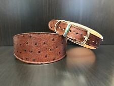 Leather Dog Collar LINED Greyhound Lurcher Whippet Saluki BROWN OSTRICH SKIN