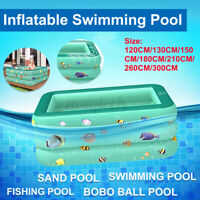 300CM Inflatable Square Kids Swimming Padding Pool Play Bathing Family Outdoor Z