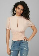 Bebe blouse top shirred ruched waist slit keyhole button pale blush pink NWT 4