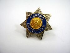 Vintage Collectible Pin: Claims Detective Badge Design Star