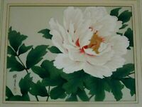 ARTIST SIGNED ORIGINAL JAPANESE WATERCOLOR PAINTING OF FLOWER