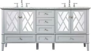 BATHROOM VANITY SINK CONTEMPORARY DOUBLE GRAY BRUSHED NICKEL CLEAR RED BLA