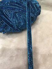 4 Meters Blue 10mm Metallic Glitter Velvet Ribbon Embellishment Craft DIY Clips