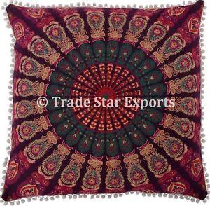 "Large 26"" Meditation Cushions Square Euro Pillow Shams Mandala Throw Pillow Case"