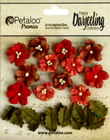 Petites DK RED Mix 12 Flowers 2cm+12 Leaves 15x20mm Paper Darjeeling Petaloo Ver