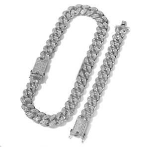 SET 2x Ice CZ 20mm 18K Gold Plated Brass Cuban Chain Necklace & Bracelet BUNDLE