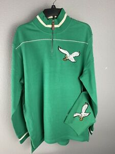 Mitchell &  Ness Philadelphia Eagles Throwback 1/4 Zip Sweatshirt Size Large