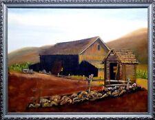 Farm Buildings & Hills, Oil Painting   (3909)