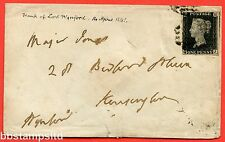 """SG. 2 c. A1 (2) h. AS46. """" QJ """". 1d black. Plate 8. A good used example on cover"""