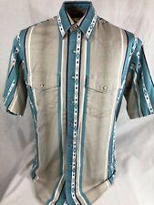 Wrangler Western Pearl Snap Short Sleeve Shirt Aztec Stripe Mens Large