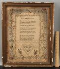 Elizabeth Oliver's 1795 Antique 18thC American Folk Art Psalm Poem Sampler NR