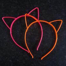 Neon Cat Ears Plastic Headband Kid Adult Fancy Dress Hen Do Party Bright Colours