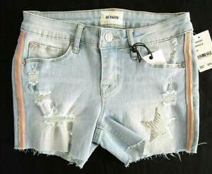 Hudson Girls 12 Luminous Lt Blue Denim Cut-Off Distressed Rainbow Short Shorts