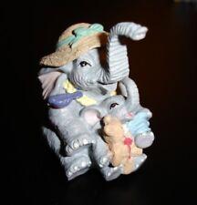 Luckyphants. Elephant Mom & Baby holding Teddy Bear #1075 - Unique!