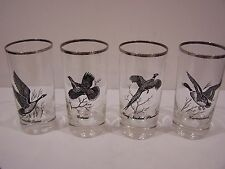 Canada Goose clear tall drinking glasses Canadian Geese vintage barware set 4