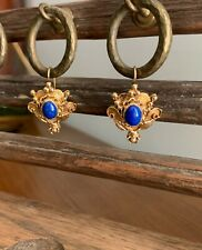 Lapis and 14k Yellow Gold Earrings