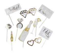 Hens Night Photo Booth Props 10 Pack - METALLIC GOLD