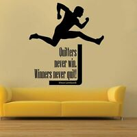 Wall Sticker Decal Quote Vinyl Art Winners Never Quit Quitters Never Win S25