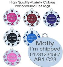 OH I'M LOST ROUND PAW SHAPE ENGRAVED ID NAME PERSONALISED PET DOG TAG TAGS