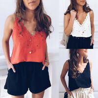 Ladies Fashion Sexy Vest Top Sleeveless Shirts Blouse Summer Casual Tank Tops