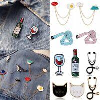 Fashion Cartoon Enamel Lapel Small Collar Pin Corsage Brooch Party Holiday Gift