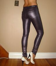 Seven 7 For All Mankind $198 Skinny Metallic Jeans Liquid Rose Leather-Look 28