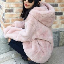 Women Faux Fur Hoodie Coat Jacket Sweatshirt Pullover Winter Warm Loose Fashion