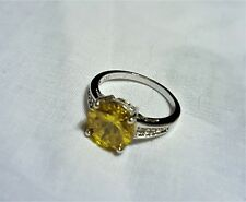 Citrine CZ 925 stamped silver plated dress ring