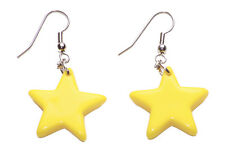 LADIES BRIGHT COLORFUL YELLOW RETRO 90'S THEME CHIC STAR EARRINGS (ZX51)