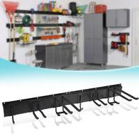Garage Wall Organizer W 9PC Garage Tool Hooks Garden Tool Storage Rack Black