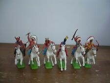 BRITAINS DEETAIL FULL SET 6 MOUNTED INDIANS WHITE HORSES TOY SOLDIERS