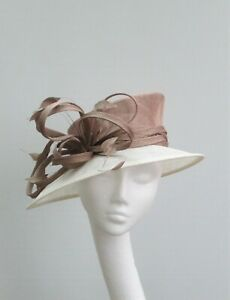 Latte / Taupe / Mink & Ivory Wedding Occasion Hat