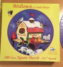 SunsOut 500 Piece Round Puzzle By Linda Picken Called Birdtown