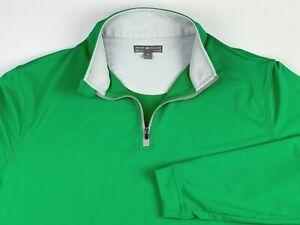 Peter Millar Wicking Long Sleeve 1/4 Zip Pullover Mens Size M Green