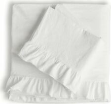 PiuBelle Ruffled Fringe Sheet Set King Percale Cotton Cottage French Country NEW