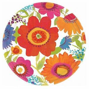 """Floral Splash Spring Flower Bright Garden Theme Party 7"""" Paper Dessert Plates"""