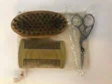 Wood Grooming Kit Set Brush Comb Scissors Men Styling Beard Shaving Set Gift