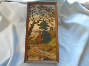 Antique oil painting  Large Pottery Tile Country Cottage Man In country walk