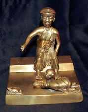 """Sculpture en bronze """"La mère , le bèbè et la grenouille"""" Indochinois début XXème"""