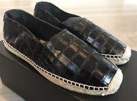 500$ Saint Laurent Black Pattern Leather Espadrilles size US 7, Made in Spain