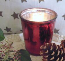 Windlicht, Teelichthalter, Teelichtglas, Glas, Rot /Silber,H: 11 cm, Weihnachten