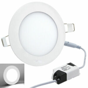 10x 6W LED Round Recessed Ceiling Flat Panel Down Light Ultra Slim Cool White