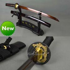 Blood Red Color Blade Japanese Samurai Wakizashi Sword Folded Steel Katana Sharp