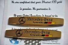 2X Mercedes Benz Stile BADGE AUTO POWER DOOR PARAFANGO lato Emblema placcato in oro 24K