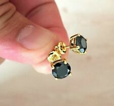 2Ct Round Cut Black Diamond Solitaire Stud Earrings Solid 14K Yellow Gold Finish