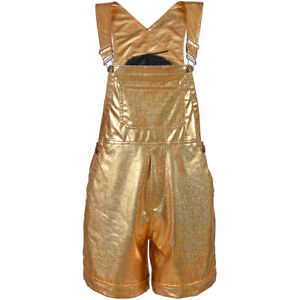 METALLIC DUNGAREES FESTIVAL CLUB PRIDE PARTY WEAR WOMENS SHINY PVC LOOK CATSUIT