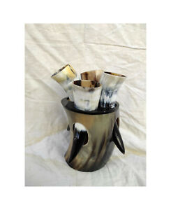 Viking Horn Mugs, Drinking Horn Tankard With Tumbler, Polished Horn Cups