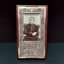 More details for french soldier 1890 studio portrait in victorian silver plate electrotype frame.