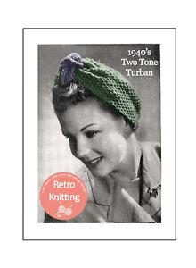 1940s Wartime Turban Knitting Pattern Copy